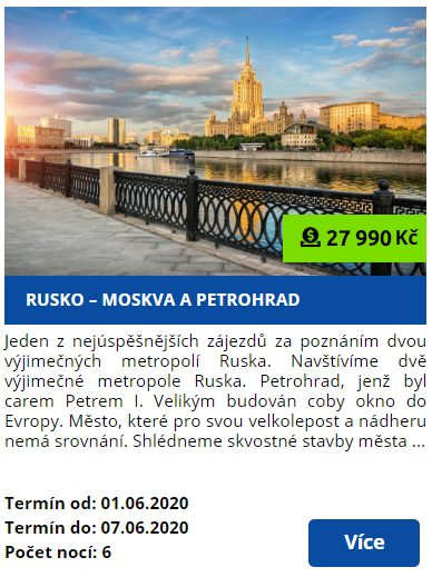 Zájezd Rusko - Moskva - Petrohrad